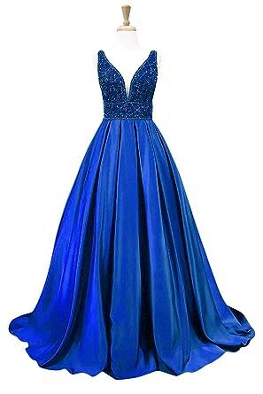 MARSEN V Neck Satin Prom Dress Beaded Long Evening Dress For Women Formal Gown Royal Blue