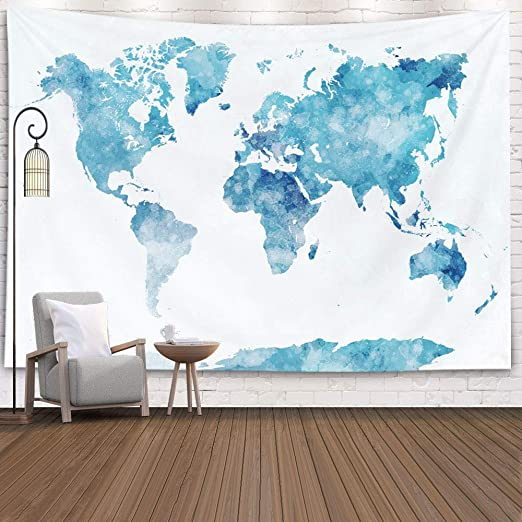tapestry map of the world Amazon Com Capsceoll Map Tapestry Blue Tapestry World Map Map