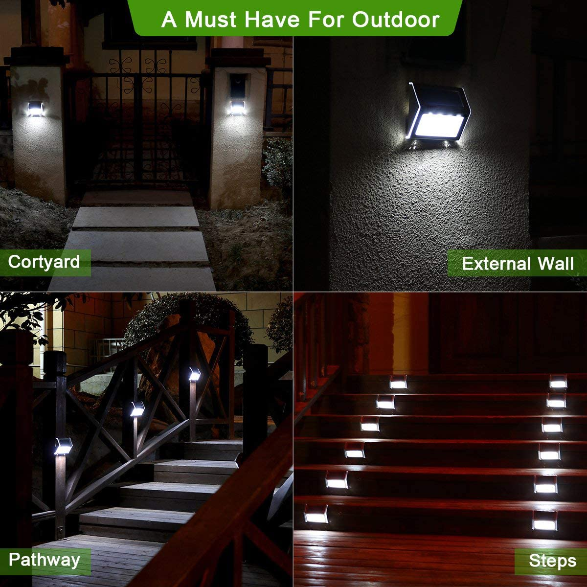 Luces Solares para Exterior Jardín 4LED Easternstar, Lámparas Solares impermeable IP44 Exterior, Solar Panel del acero inoxidable, 4 LED Ilumina a las escaleras, pared,patio y jardín etc.(10 unidades): Amazon.es: Iluminación