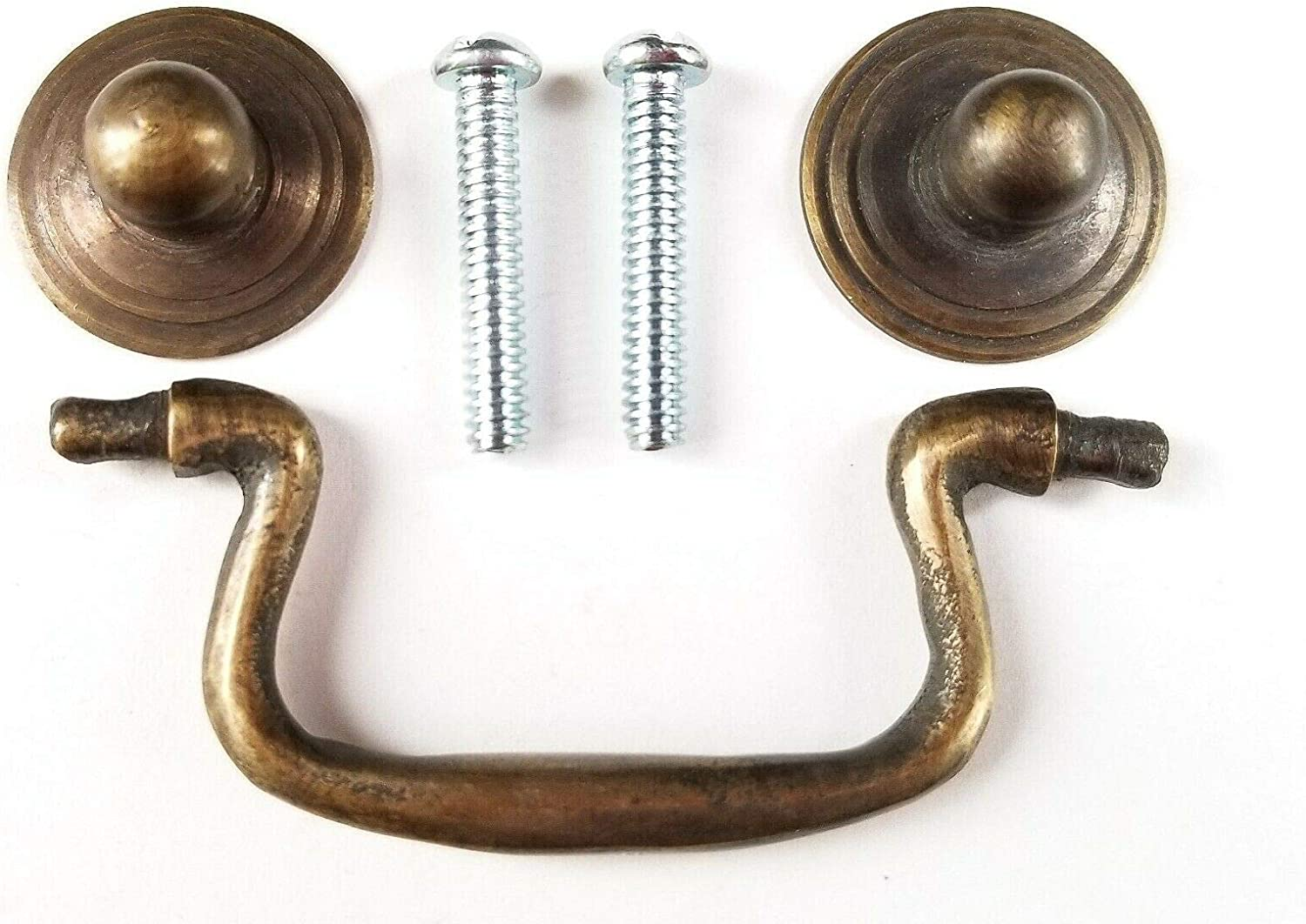 """2 Ant.Style Brass Swan Neck Bail Pull Drawer Cabinet Handles 2-3//4/""""cntr #H43"""