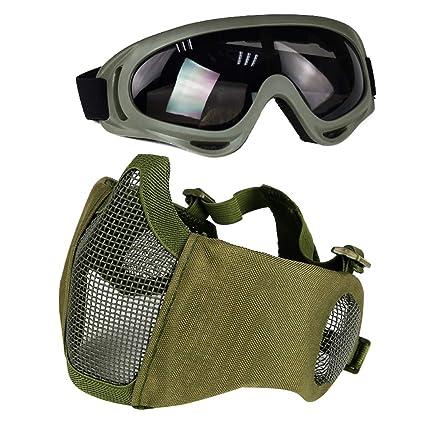 Aoutacc Airsoft De Protection Gear Set A Moitie Visage Maille