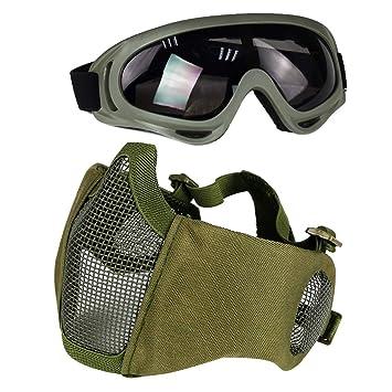 2a273013c9 Aoutacc Airsoft de Protection Gear Set, à moitié Visage Maille Masques avec  Protection Auditive et
