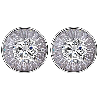 6ec6d1a15 YAZILIND 925 Sterling Silver Round Cut Cubic Zirconia Stud Earrings:  YAZILIND JEWELRY LIMITED: Amazon.co.uk: Jewellery