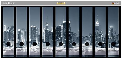 Archivadores pegatinas de Nueva York - Alta calidad en blanco y negro - Talla 54 x