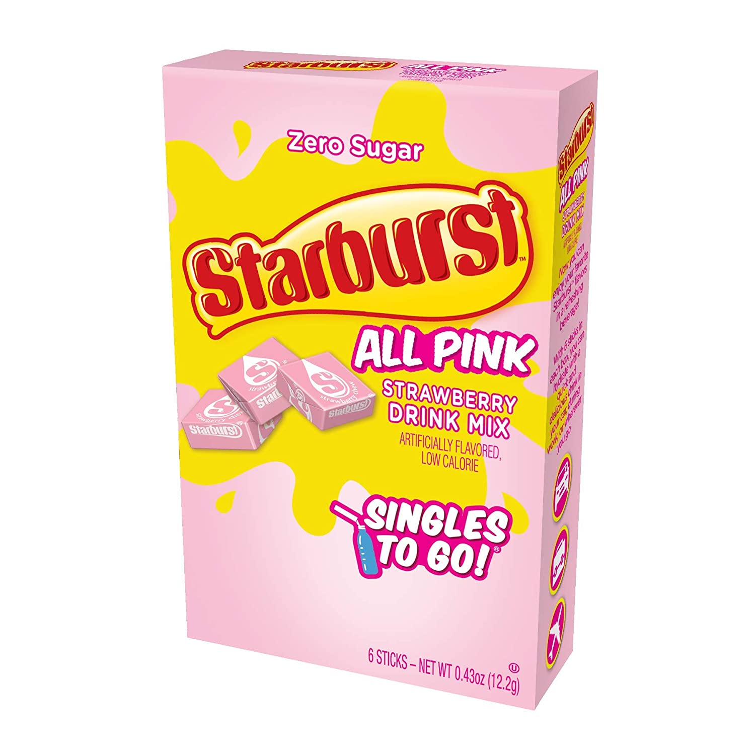 Starburst Singles To Go Powdered Drink Mix, All Pink Strawberry, 12 Boxes with 6 Packets Each - 72 Total Servings, Sugar-Free Drink Powder, Just Add Water, 0.87 Pound (Pack of 12)