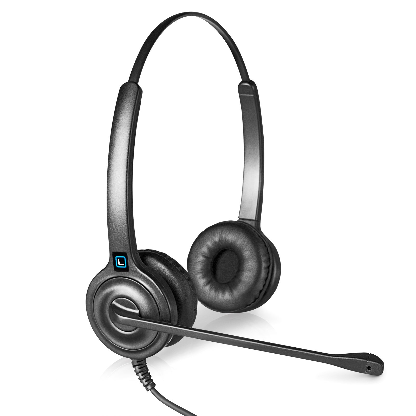 Leitner LH255 Dual-Ear Corded USB Headset with In-Line call control. Works with PC and Mac. Call control works with Skype for Business.