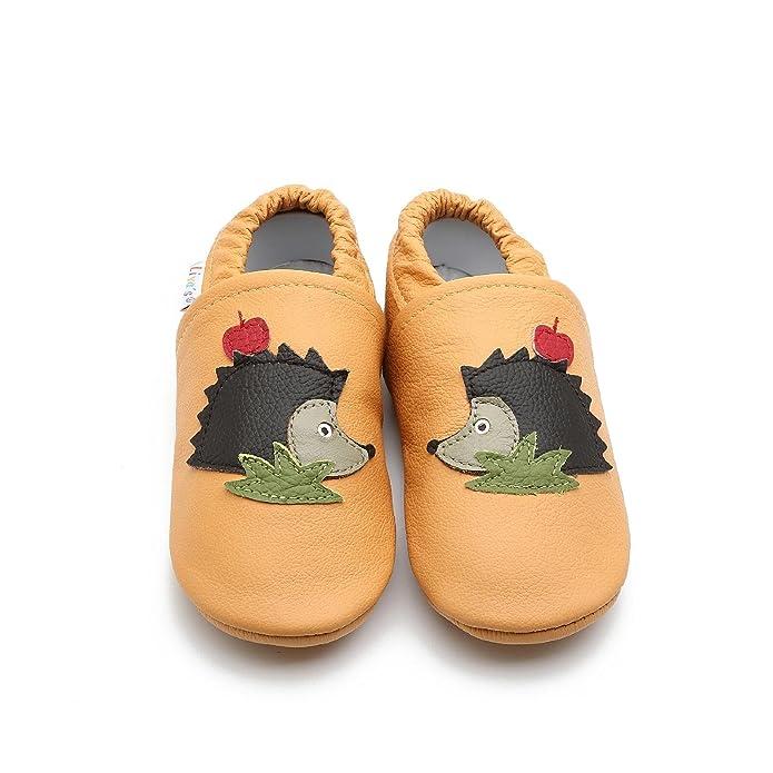 Liya's - Zapatillas de estar por casa de Piel para niño Amarillo Maisgelb, color Amarillo, talla 32