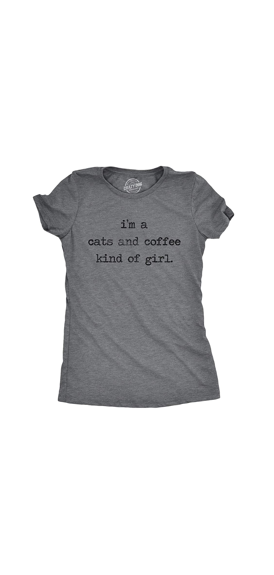 Womens Im A Cats And Coffee Kind Of Girl Tshirt Funny Pet Kitty