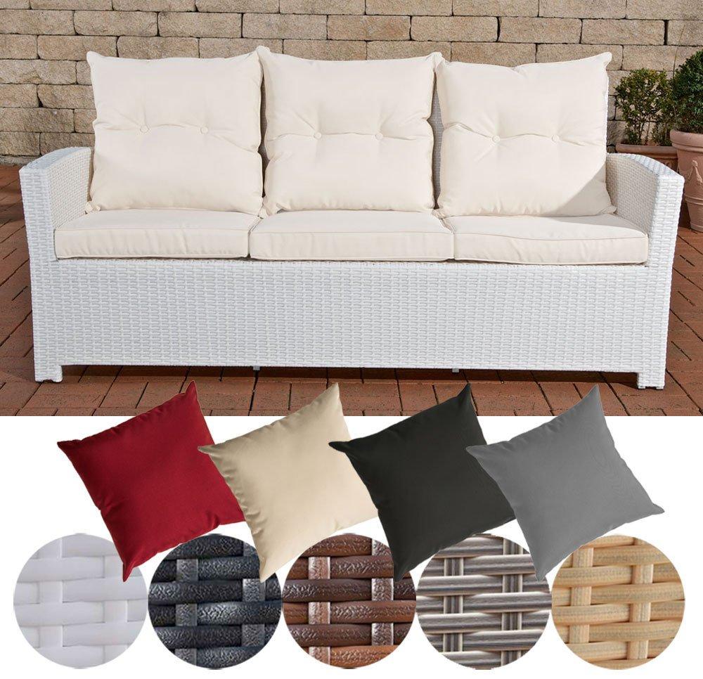 CLP Poly-Rattan 3er Sofa FISOLO, Aluminium Gestell - 100% rostfrei - inkl. Kissen & Auflagen Rattan Farbe weiß, Bezugfarbe: Cremeweiß