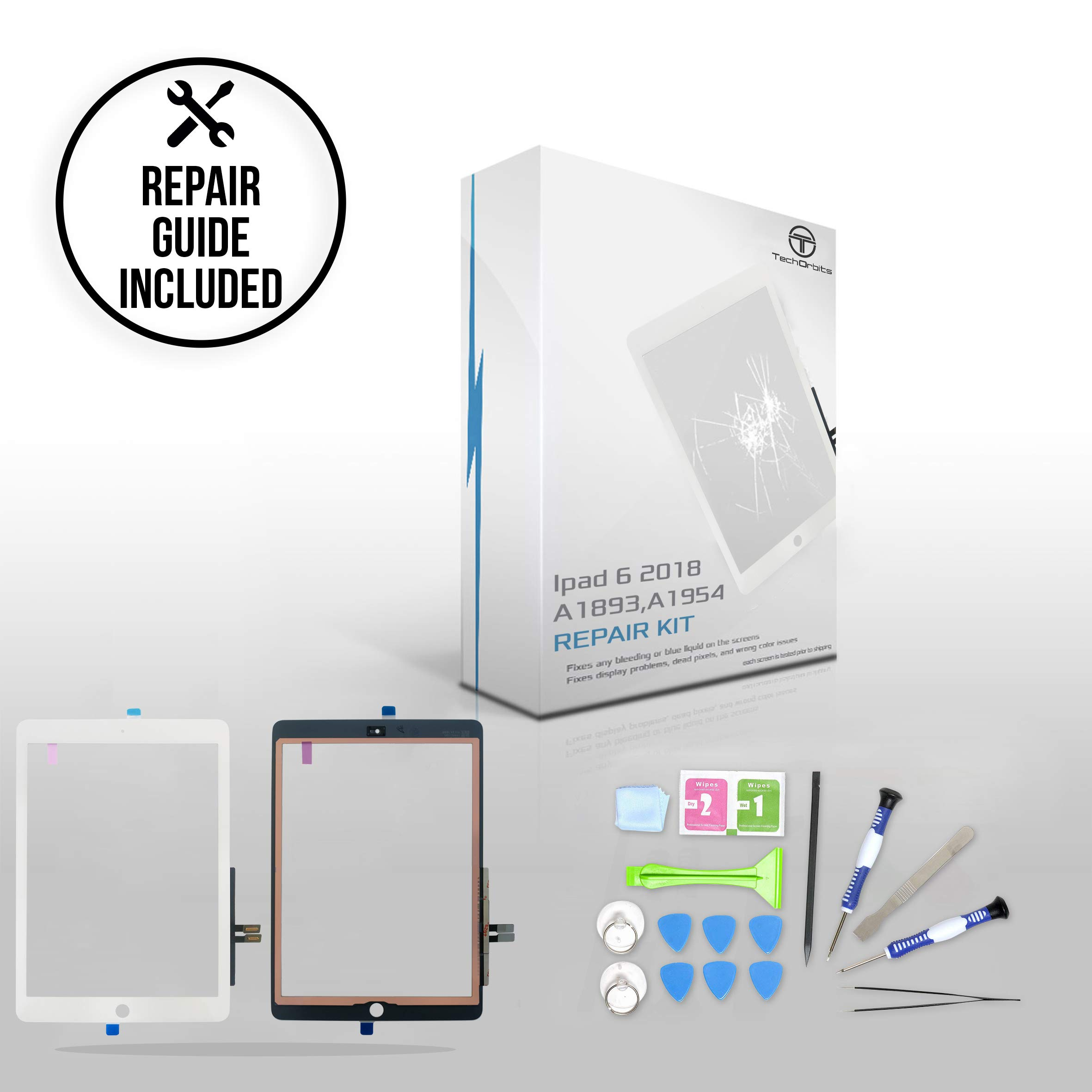 TechOrbits Replacement 9.7' Touch Digitizer Glass for Ipad 6 6th Generation 2018 (A1893, A1954) White with Repair Guide/Kit