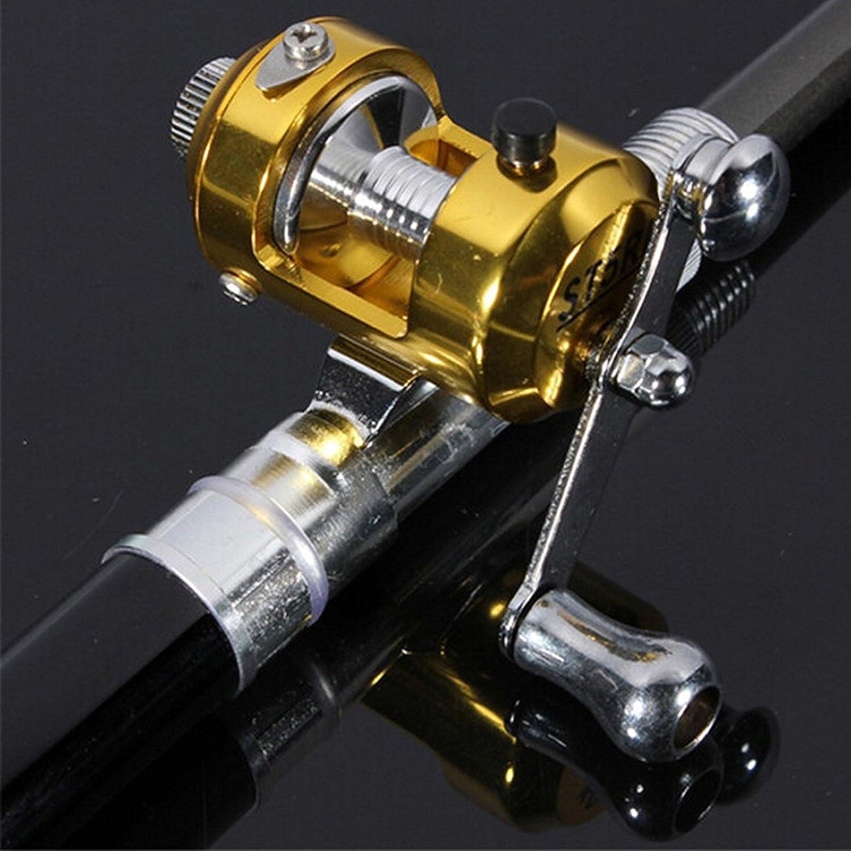 ONOGAL Ca/ña de pescar plegable portatil mini de fibra de vidrio y aluminio con carrete para pesca en playa rio camping 2205
