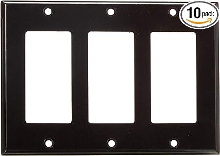 10 pc 3-Gang Screwless Wall plate Decorator GFCI White Decorative Wallplate