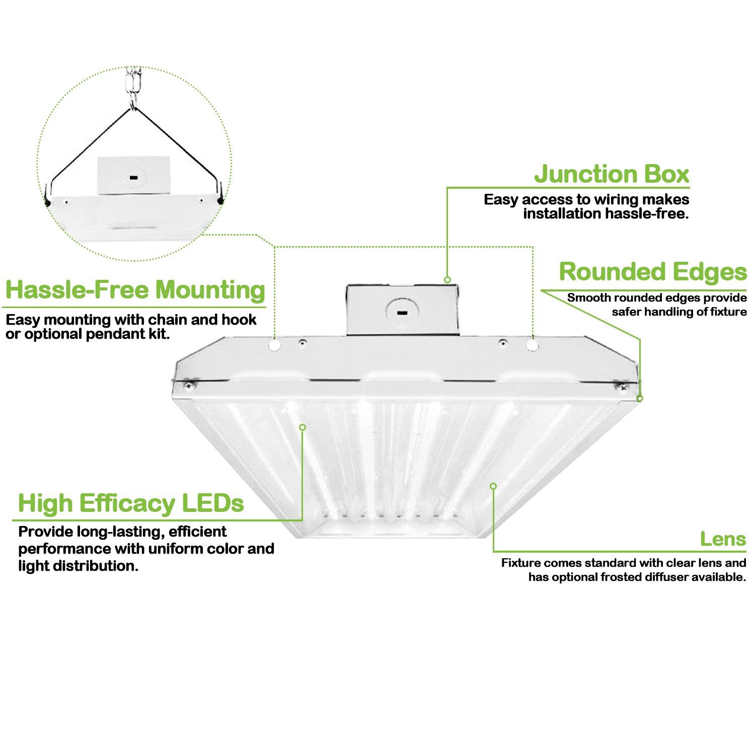 Hykolity 2FT Linear LED High Bay Light, LED Shop Light Fixture 110W 14300lm  0-10V dimmable ...