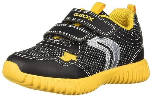 George Bernard crema Hasta  Geox Waviness Boy 5 Lightweight Velcro Sneaker, Black/Yellow, 26 Medium EU  Toddler (9 US): Amazon.in: Shoes & Handbags