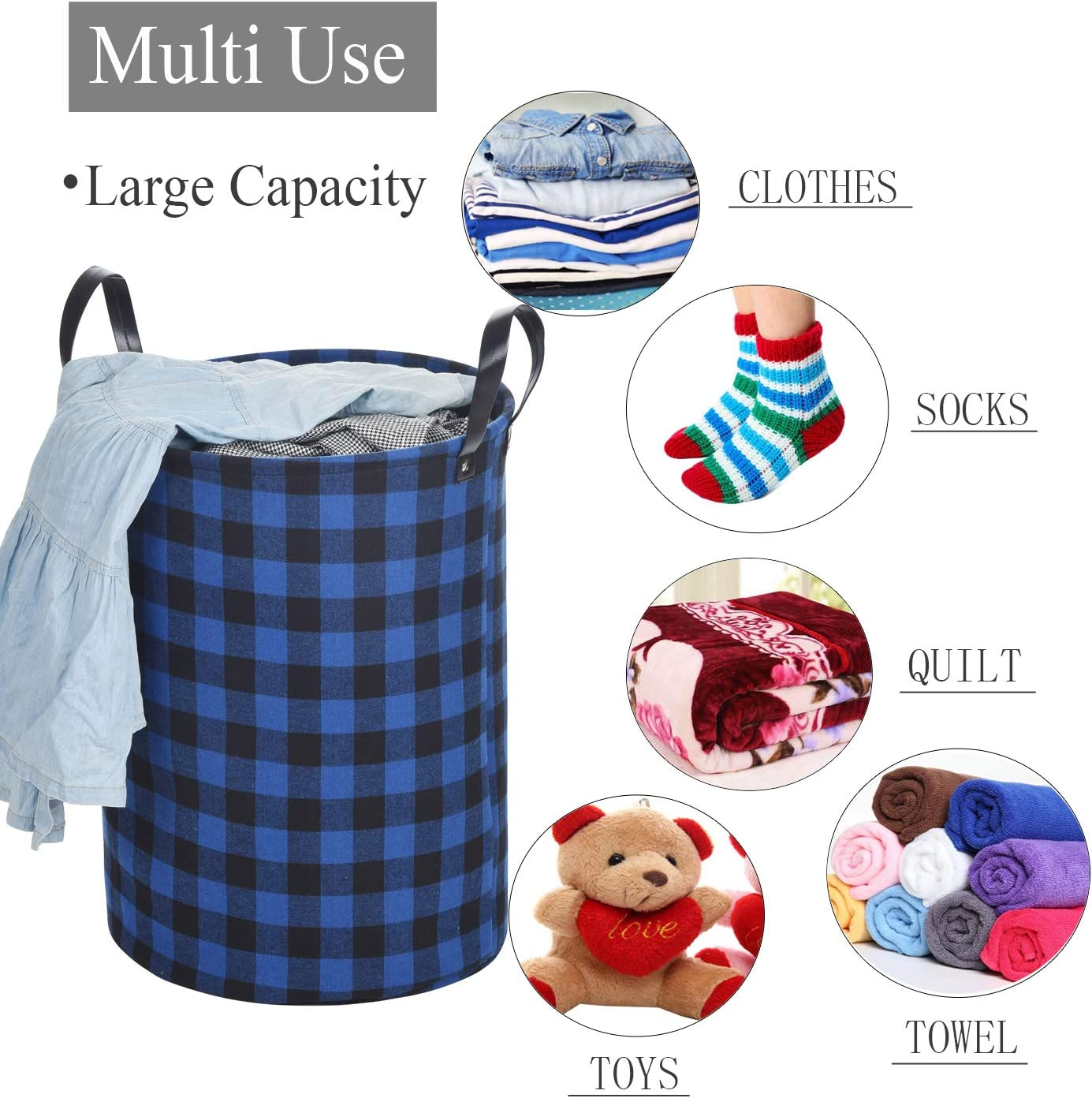 22/'Tall Large Round Laundry Hamper for Clothes Storage Haundry Collapsible Laundry Basket with Durable Leather Handles