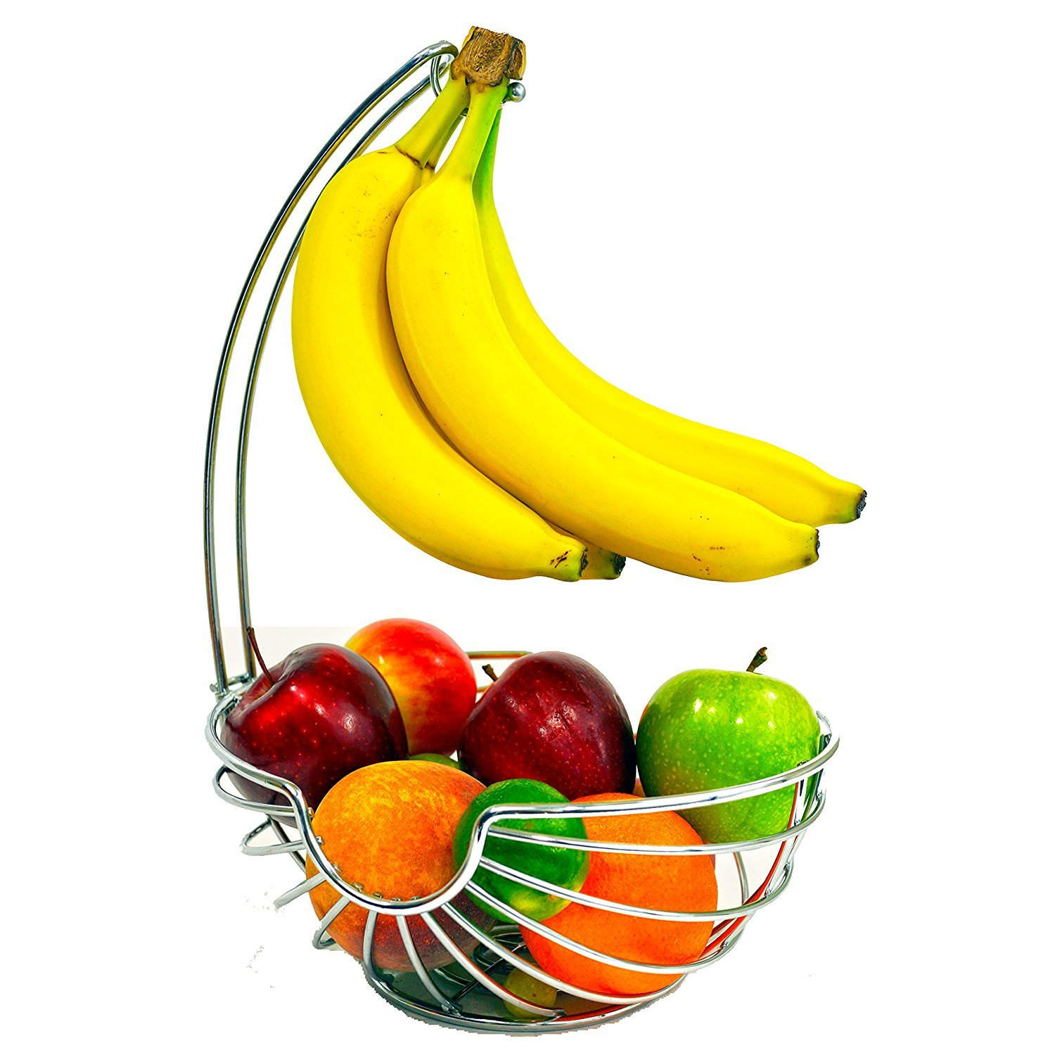 Superiore Livello Chrome Fruit Basket with Banana Hanger, Elegant and Decorative Fruit Bowl with Banana Hook.