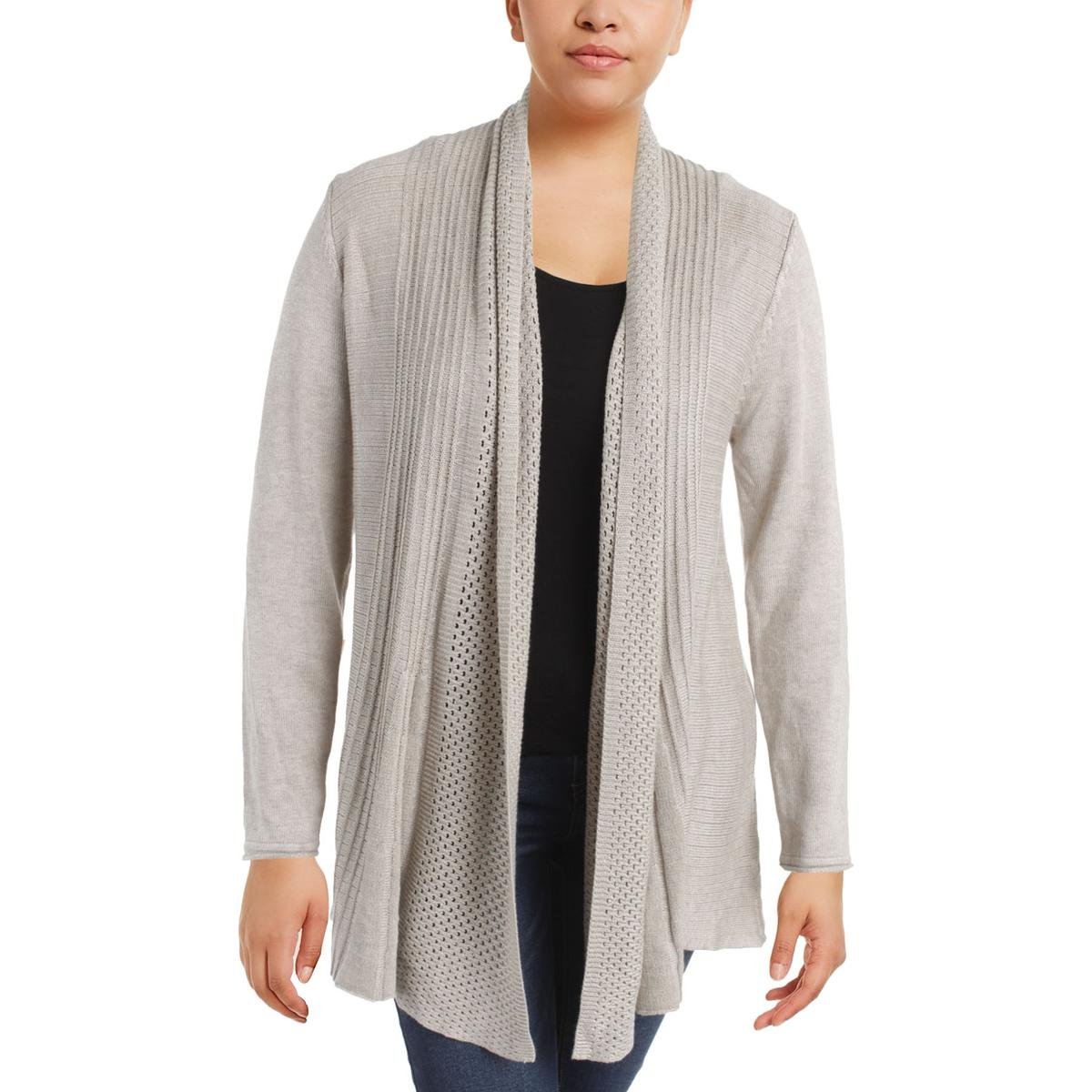 Natural Vila Milano Womens Pleated Long Sleeves Cardigan Sweater