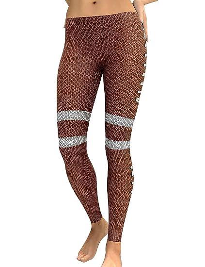 7ff63cbb0 SCX Women Slim High Waist Football 3D Digital Print Splice Sports Tight  Pants Yoga Leggings at Amazon Women's Clothing store: