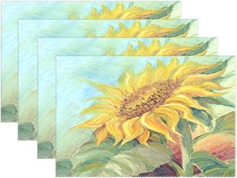 Amazon Com Wamika Sunflowers Table Mat Placemat Close Up Sunflower Painting Placemats 12x18x4 In For Home Dining Kitchen Decor Set Of 4 Home Kitchen