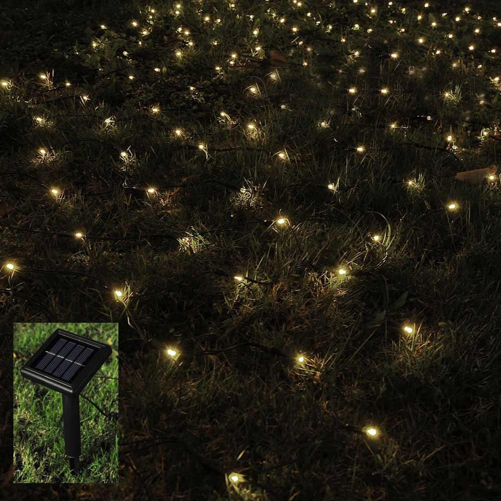 BMOUO 1Mx2M 120 LEDs String Lights Net Mesh Lights, Waterproof Solar Net Led String Lights for Outdoor, Gardens, Homes, Dancing, Christmas Party (Warm White) by BMOUO