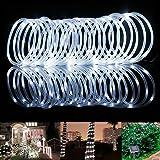 TurnRaise 12 M 100 LED Solar Garten Lichterkette, Wasserdicht IP65 Led Lichtschlauch,Außenlichterkette, LED Lichterketten Für Hochzeit, Party und Weihnachten, Weihnachtsbeleuchtung (Kaltweiß)