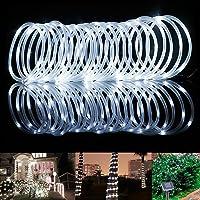 Samoleus 12M 100 LED Lichtschlauch Solar, Wasserdicht IP65 Solar Lichterkette Außen, weihnachtsbeleuchtung Aussen für Party und Weihnachten (Weiß)