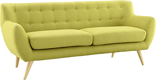 Modway Remark Mid-Century Modern Sofa With Upholstered Fabric In Wheatgrass