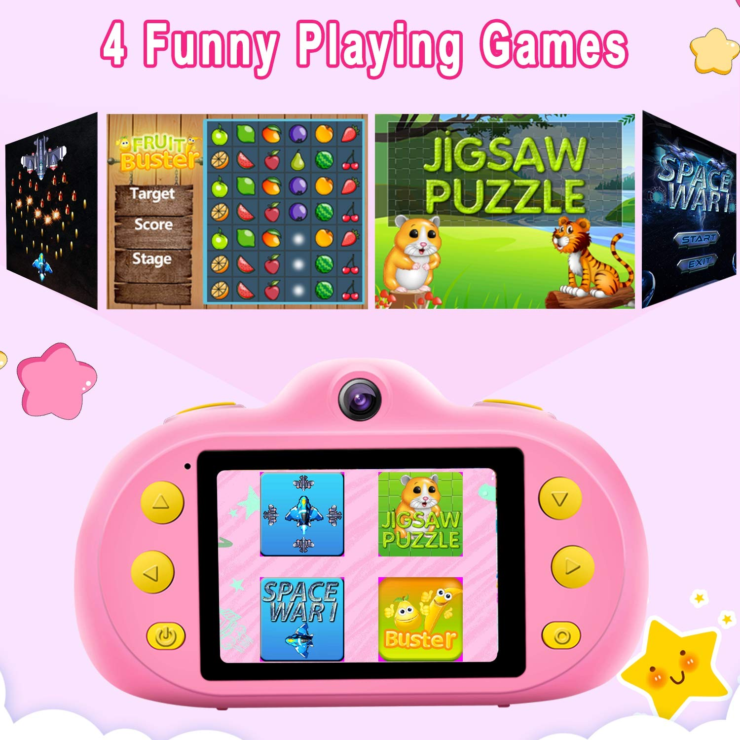 GBD [NEW] Kids Camera Toys for Boys Girls,12MP HD 1080P Selfie Video Camera with MP3 Player Games DUAL Lens, 2.4'' Digital Camcorder Recorder Back to School Birthday Gift,(Free 16GB Memory Card) (Pink) by GBD (Image #5)