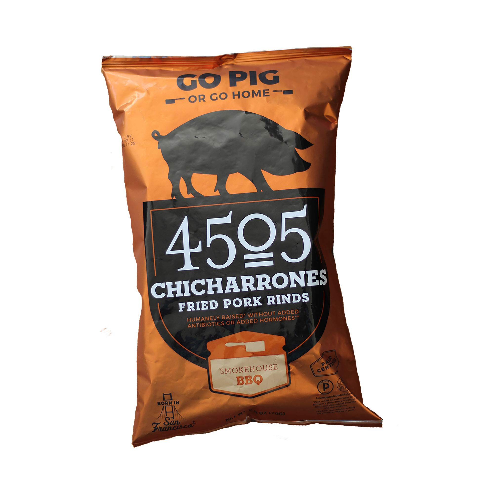 4505 Meats Chicharrones Fried Pork Rinds, Smokehouse BBQ, 2.5 Ounce, 6 Count by 4505 Meats (Image #2)
