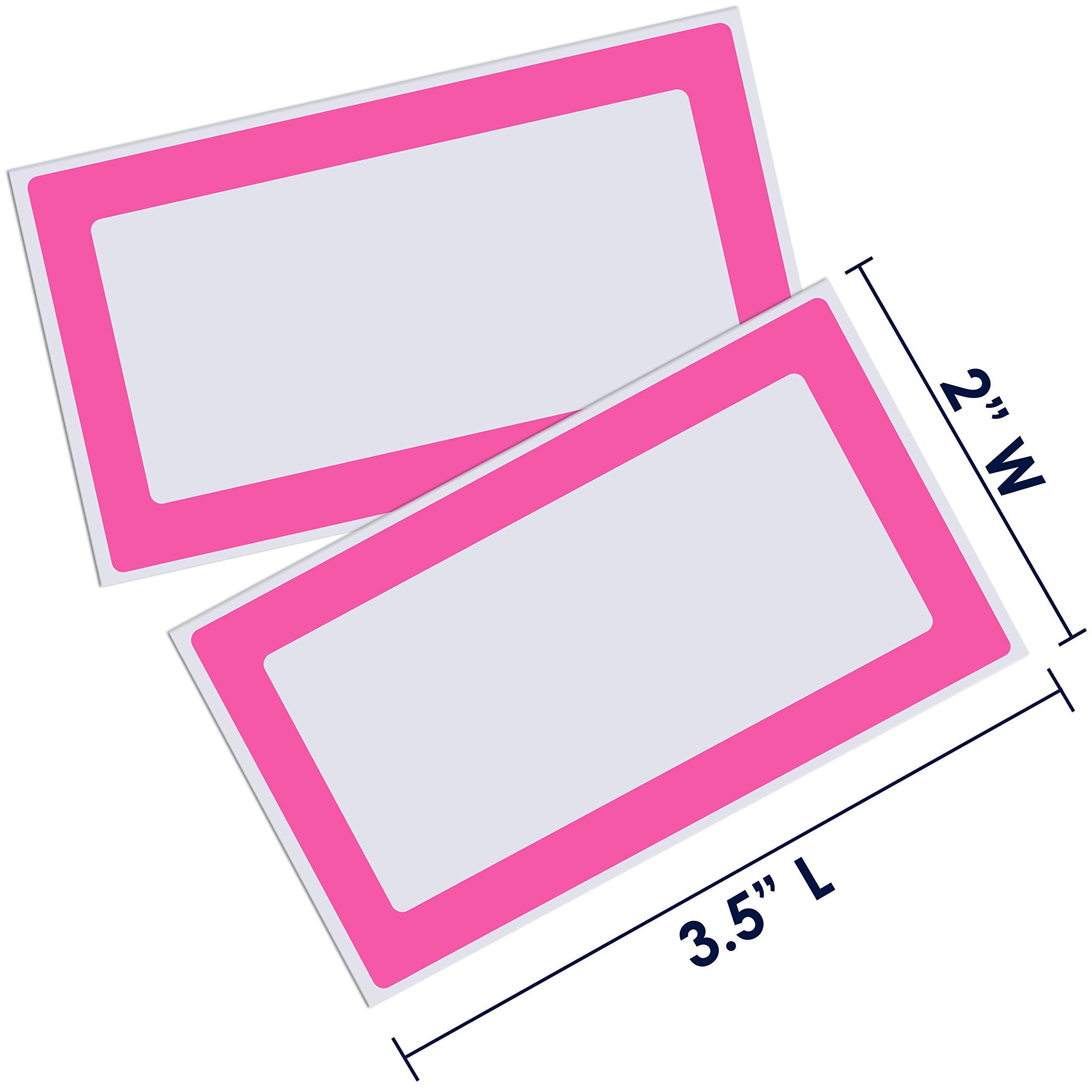 Colorful Plain Name Tag Labels - 2 Rolls 500 Stickers in Total - 3.5 x 2 inches - Nametags for Jars, Bottles, Food Containers, Folders, Birthday Parties and Kids Clothes (Pink/Pink 2 Pack) by Navy Penguin (Image #2)