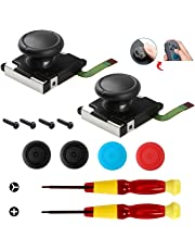 2-Pack 3D Analog Joystick Joycon Analog Stick for Nintendo Switch Joystick Replacement - Comes with Tri-Wing & Cross Screwdriver Repair Tool and 4 Thumbstick Caps