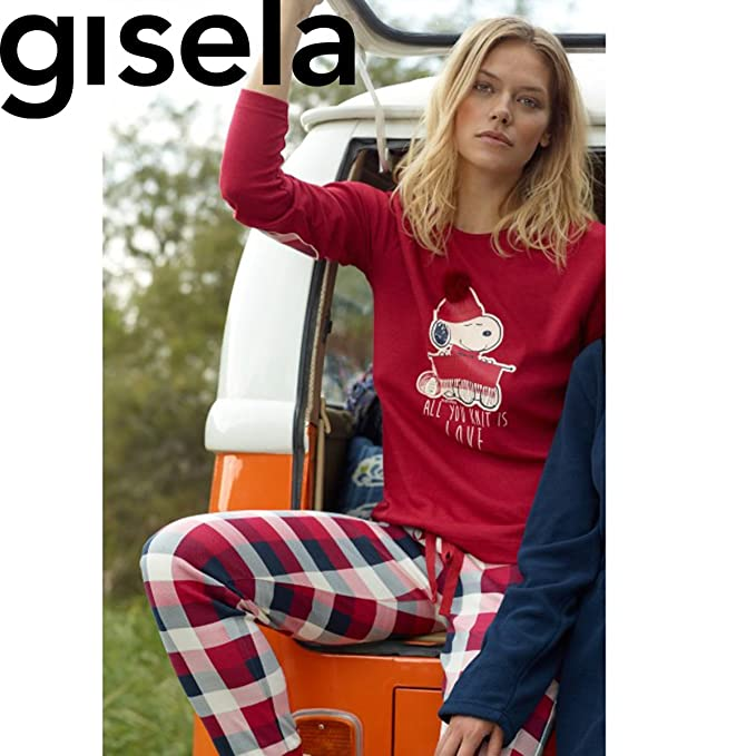 GISELA Pijama We Are Kinit Snoopy Camiseta Mas Pantalon Unico:Rojo Unico XL
