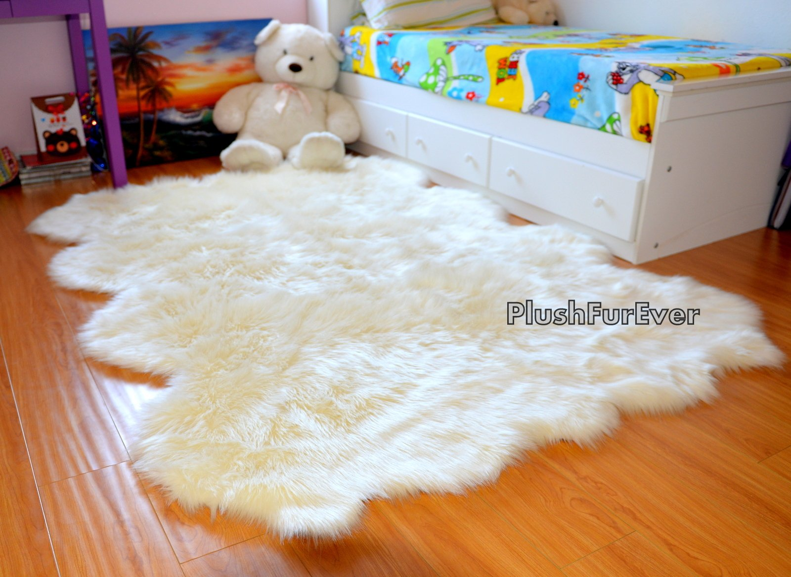 SC Love Collections Plush Sheepskin Octo Eight Pelts Warm White Shaggy Luxurious Home Accents Decor (5' x 7' feet) by Fur Accents (Image #1)