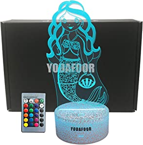 YODAFOOR Mermaid Night Light 3D Optical Illusion Night Lamp - 7 LED Color Changing Remote Control Lamp - Cool Soft Light Safe for Kids- Solution for Nightmares-Cute Mermaid Gifts Room Decor (Mermaid)