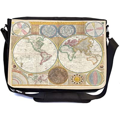 Rikki Knight Vintage World Map - Premium 1600D Messenger Bag - School Bag Ideal for School or College (UKBK Design)