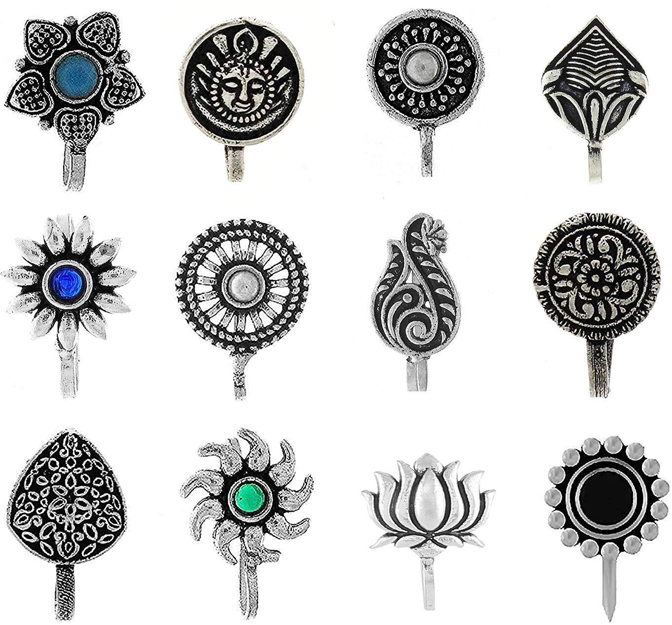 Anuradha Art Silver Oxidised Tone Wonderful Multi Colour Press On