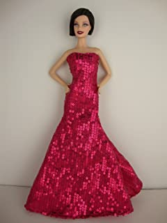 Flawless Stunning One Shouldered Gown in Red Wine Color Made to Fit Barbie Doll