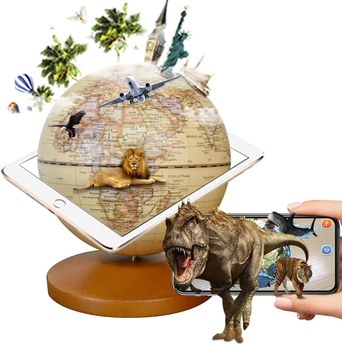 FUN GLOBE 3 in 1 Illuminated AR Explore The World Globe Desktop Decoration Geographic Interactive Earth Globes Office Supplies Holiday Gift with Adjustable LED & Light Music for Kids & Adult 5 in