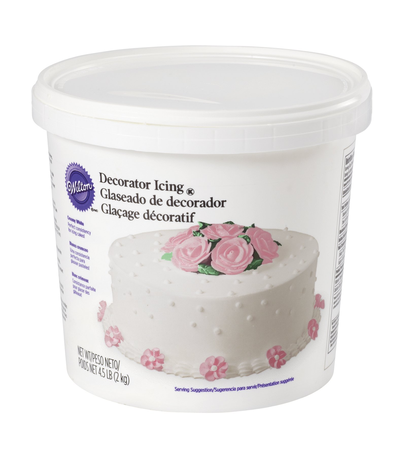 Wilton Creamy White Decorating Icing, 4.5 lb. Tub - White Buttercream Icing
