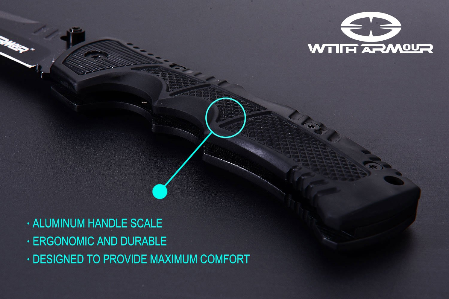 WITHARMOUR Back Lock 440C Stainless Steel Best Pocket Folding Knife Racketeer for Men and Black Aluminum Handle with Nylon Sheath for Tactical Outdoor Survival Camping and Self Defense 5-inch closed by WITHARMOUR (Image #5)
