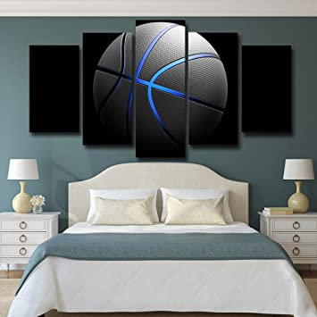Sports Basketball Canvas Art Painting Blue light Wall Pictures Gym Poster  Modular Painting Supplies Large Size 5 Pieces/set for Boys With Stretched