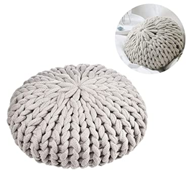 Chunky Acrylic Knit Pillow Decorative Throw Pillows for Home Living Room Decor; Newborn, Girls Photography Props (Grey, Round)
