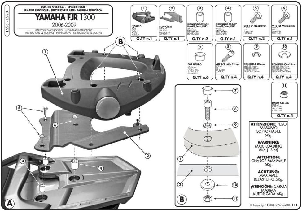 06-15 GIVI E228 Monokey Topcase Mounting Kit-Yamaha FJR1300