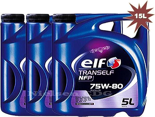 Elf Tranself NFP 75W80 - Aceite de engranaje (3 x 5 L, 15 L ...