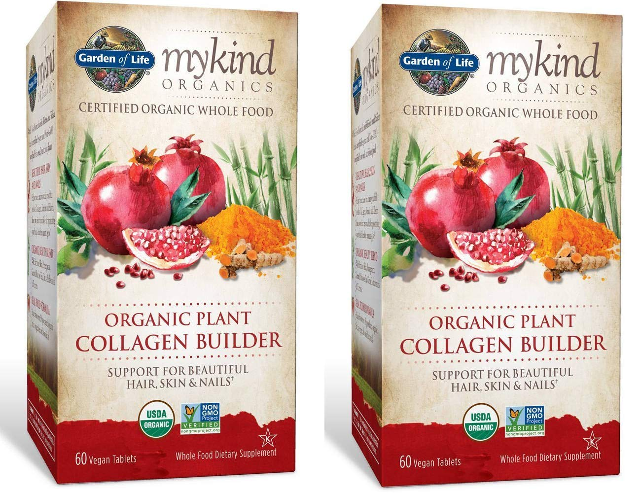MyKind Organics Certified Organic Whole Food Plant Collagen Builder for Beautiful Hair, Skin and Nails (60 Vegan Tablets) Pack of 2