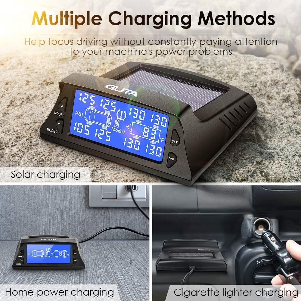 Endurance Battery Life 7 Alarm Modes -4~185℉ Long Sensing Distance GUTA Tire Pressure Monitoring System More Convenient Sensor Pairing Method Large Screen 0-188psi 12 Sensors