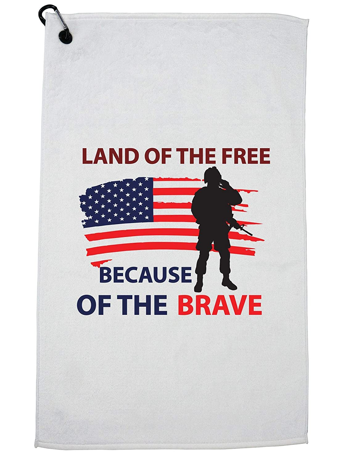 Hollywood Thread Land of The Free Because of The Brave ミリタリーサポートゴルフタオル カラビナクリップ付き   B07GGH9VVC
