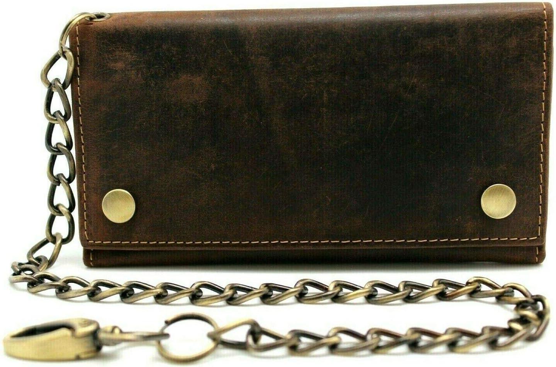 Genuine Cowhide Leather Long Metal Chain Trifold Motorcycle Biker Trucker Wallet