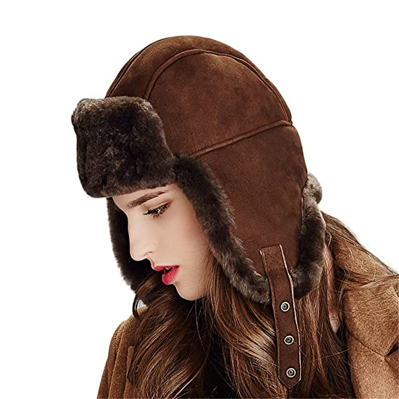 019ac72279a7b Kenmont Womens Trapper Hats Ladies Winter Hats Luxury Sheep Cashmere  Russian Style Thermal Ski Cap Earflap hat (Dark Brown)  Amazon.co.uk   Clothing