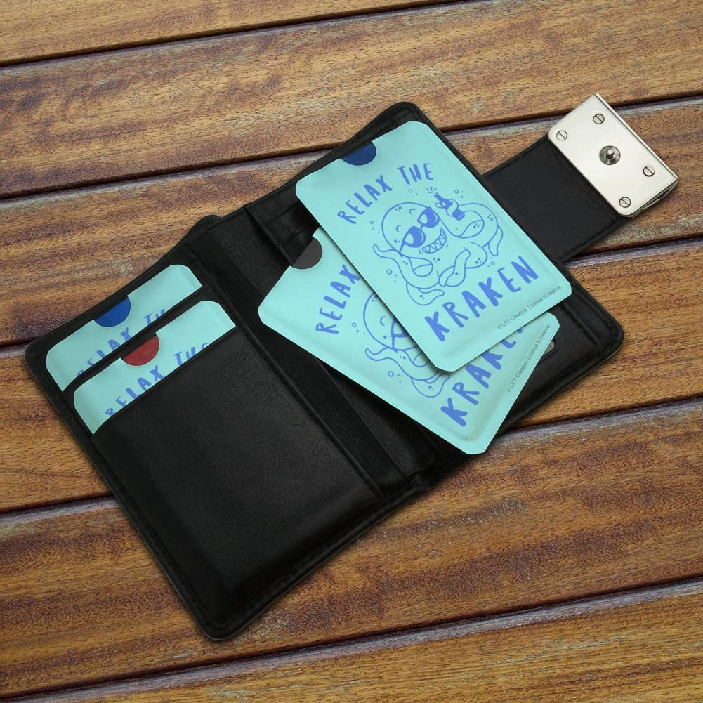 Relax the Kraken Funny Humor Credit Card RFID Blocker Holder Protector Wallet Purse Sleeves Set of 4
